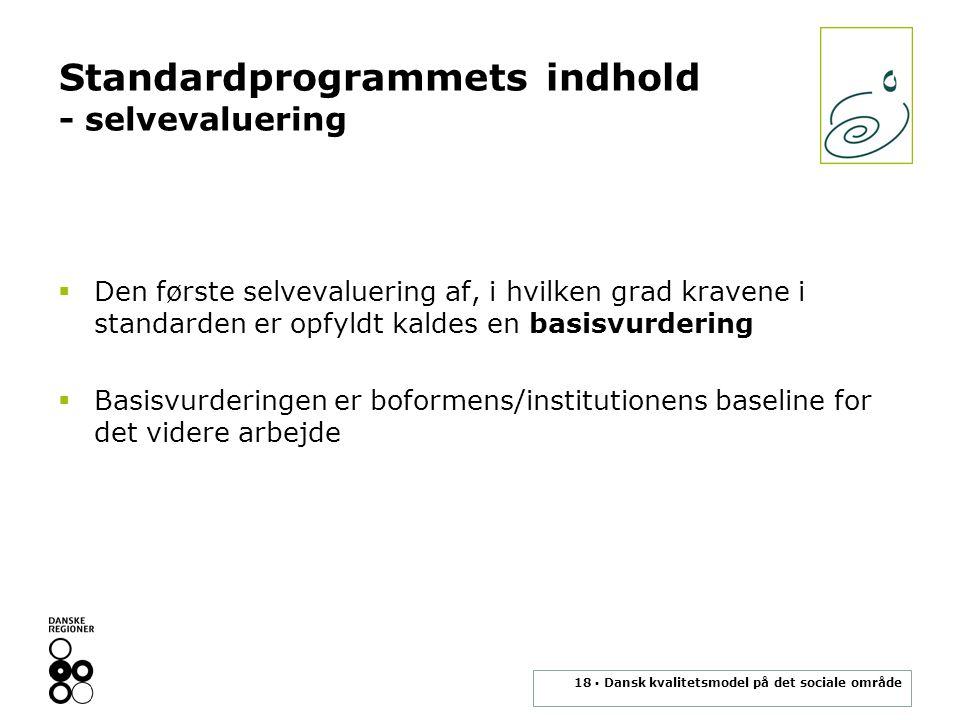 Standardprogrammets indhold - selvevaluering