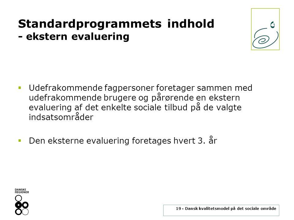 Standardprogrammets indhold - ekstern evaluering