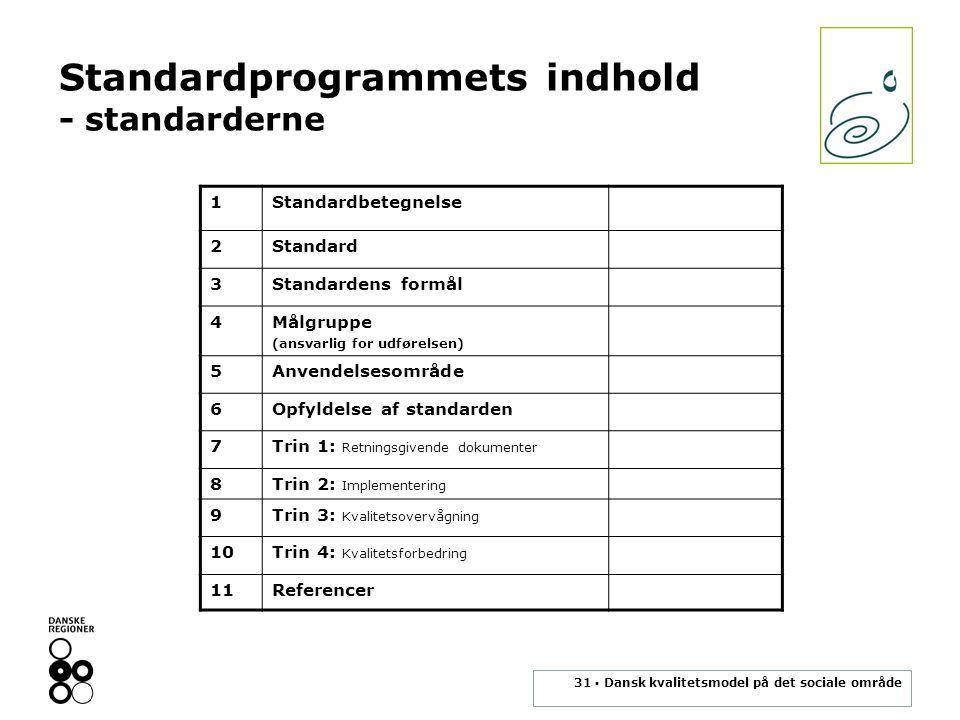 Standardprogrammets indhold - standarderne