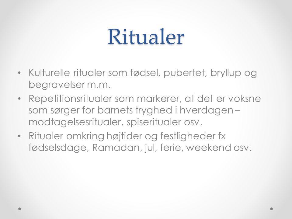 Ritualer Kulturelle ritualer som fødsel, pubertet, bryllup og begravelser m.m.