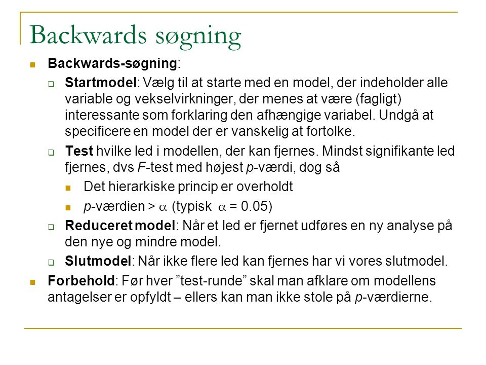 Backwards søgning Backwards-søgning: