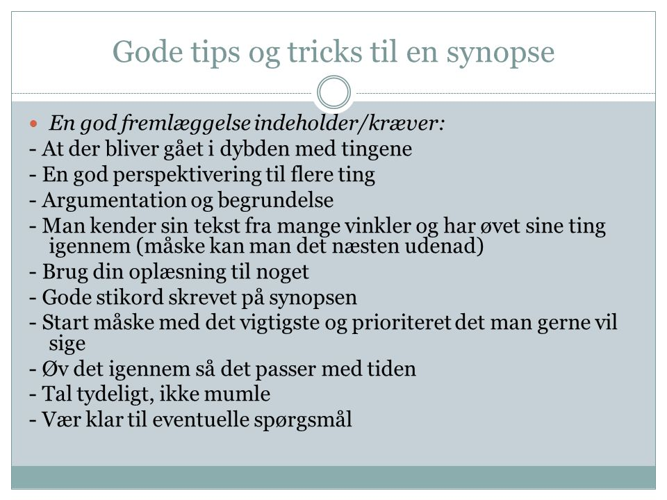 Gode tips og tricks til en synopse