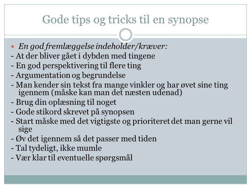 Gode tips og tricks til en synopse