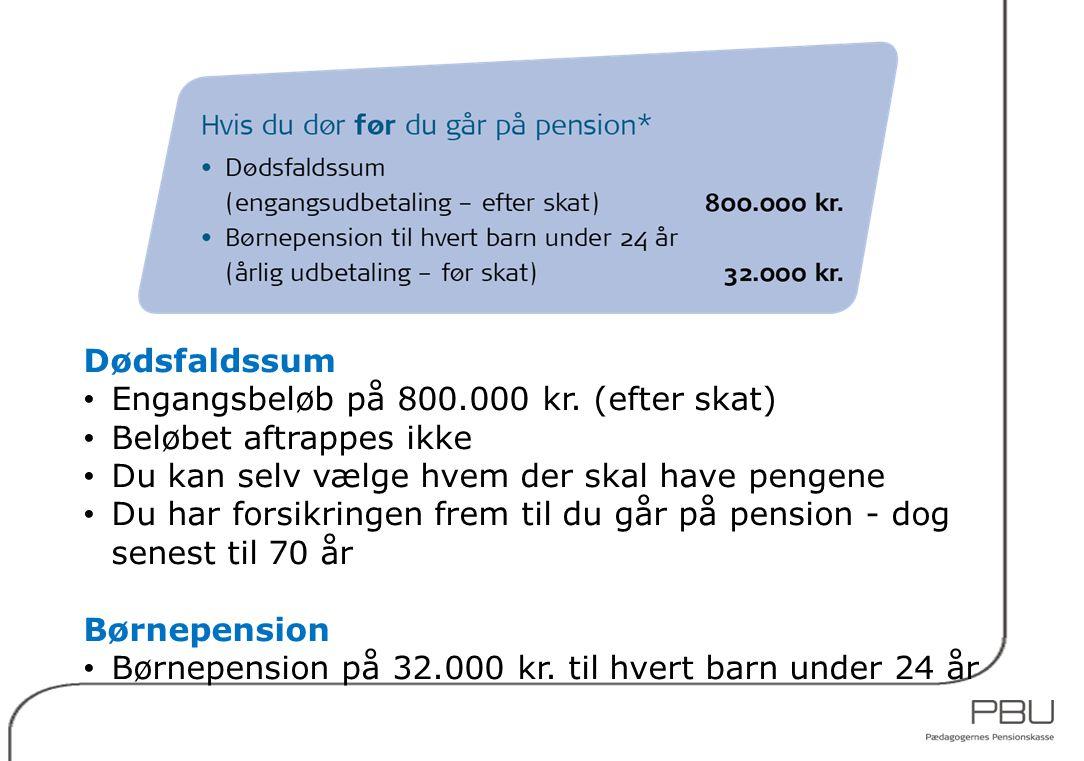 Dødsfaldssum Engangsbeløb på 800.000 kr. (efter skat) Beløbet aftrappes ikke. Du kan selv vælge hvem der skal have pengene.
