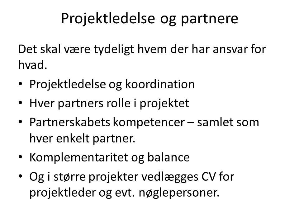 Projektledelse og partnere