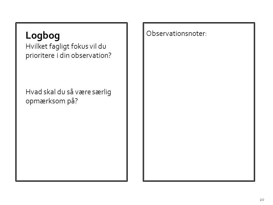 Logbog Observationsnoter: