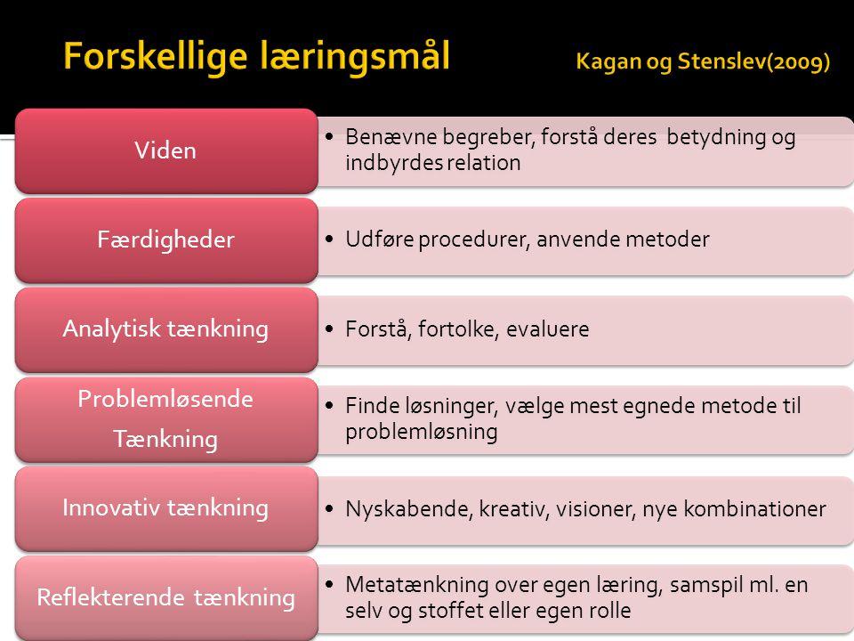 Forskellige læringsmål Kagan og Stenslev(2009)