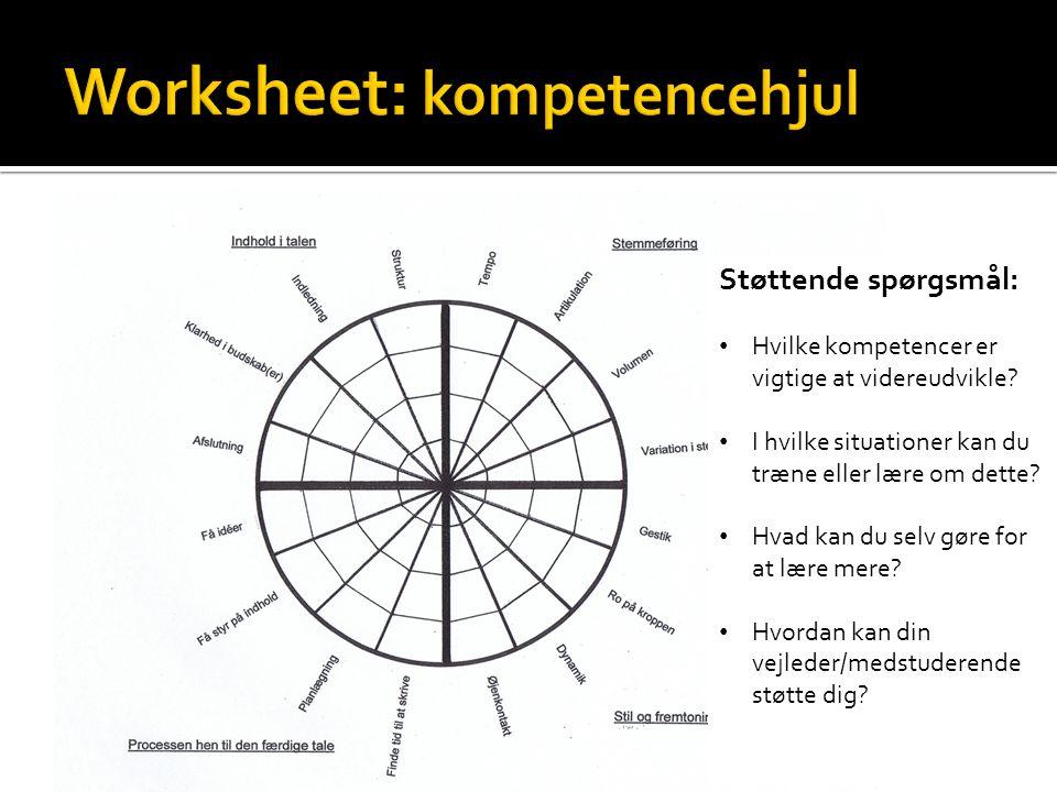 Worksheet: kompetencehjul