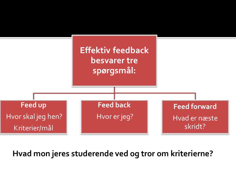 Effektiv feedback besvarer tre spørgsmål: