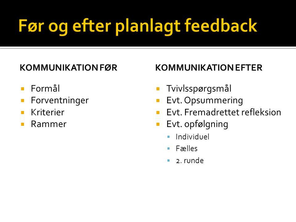 Før og efter planlagt feedback