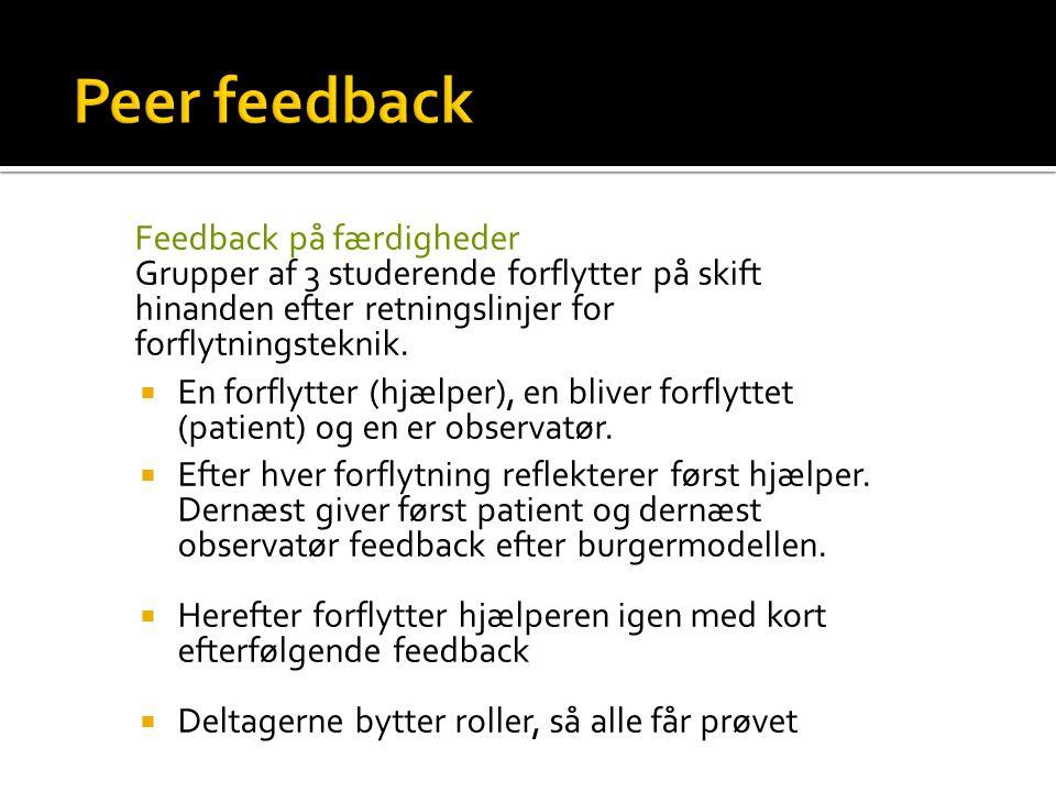 Peer feedback Feedback på færdigheder