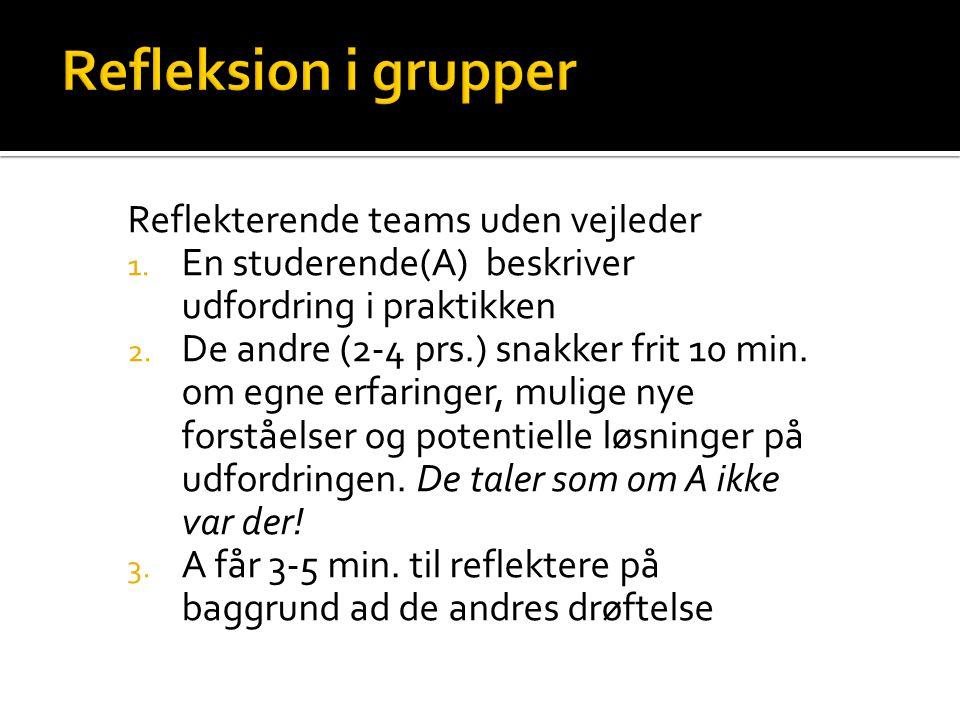 Refleksion i grupper Reflekterende teams uden vejleder