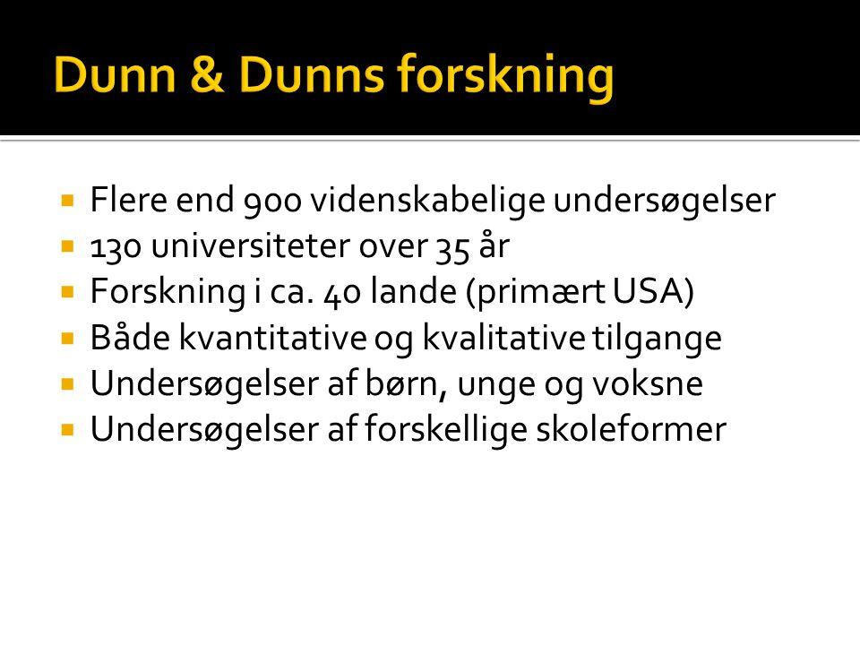 Dunn & Dunns forskning Flere end 900 videnskabelige undersøgelser