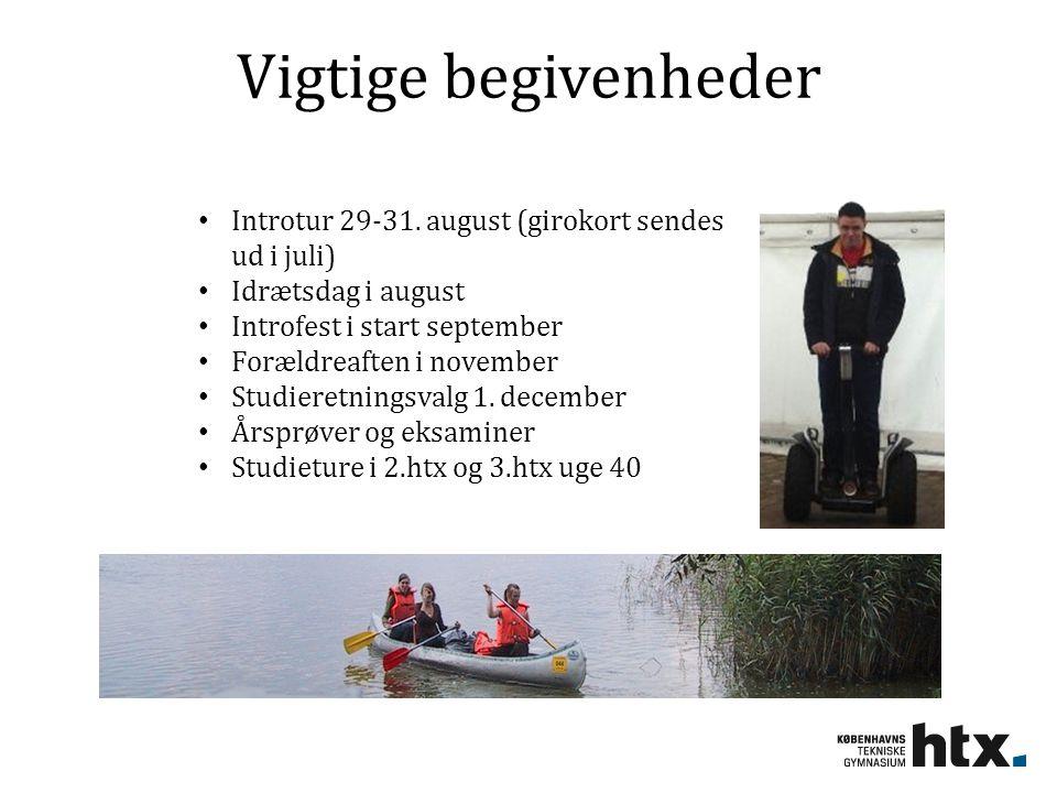 Vigtige begivenheder Introtur 29-31. august (girokort sendes ud i juli) Idrætsdag i august. Introfest i start september.