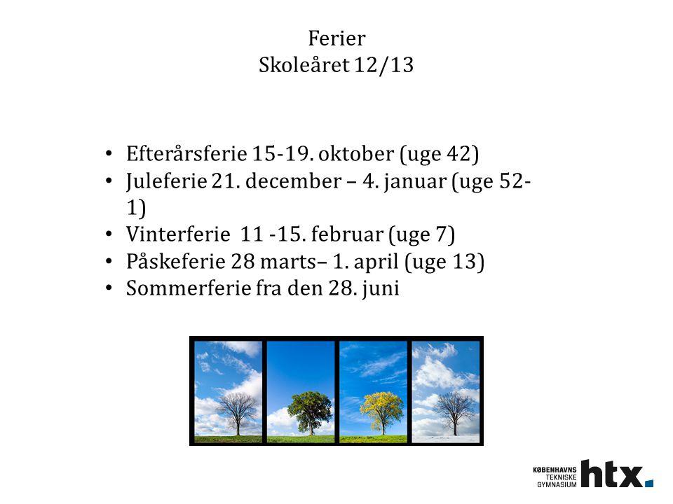 Ferier Skoleåret 12/13 Efterårsferie 15-19. oktober (uge 42) Juleferie 21. december – 4. januar (uge 52-1)