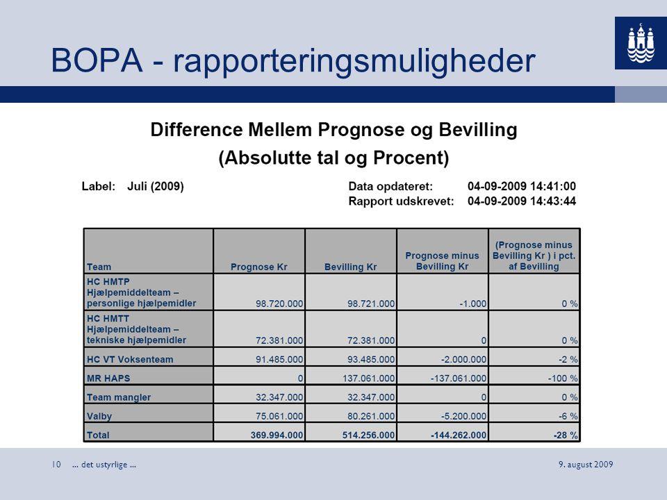 BOPA - rapporteringsmuligheder