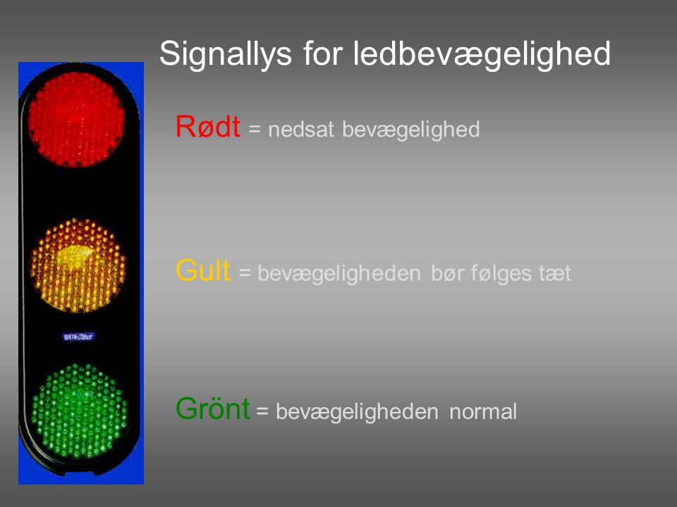 Signallys for ledbevægelighed