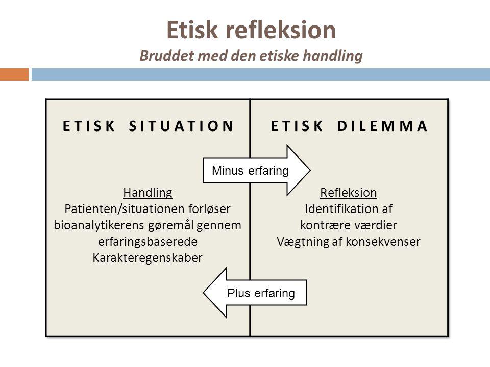 Etisk refleksion Bruddet med den etiske handling