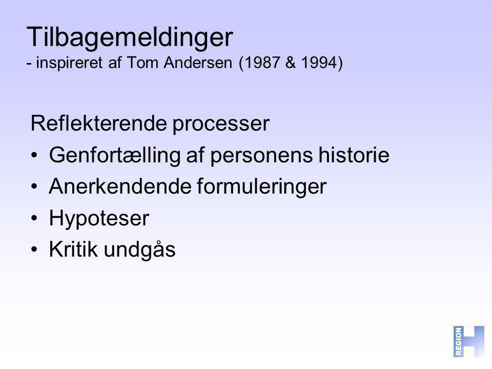Tilbagemeldinger - inspireret af Tom Andersen (1987 & 1994)