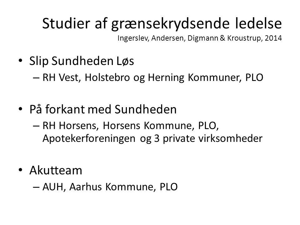 Studier af grænsekrydsende ledelse Ingerslev, Andersen, Digmann & Kroustrup, 2014