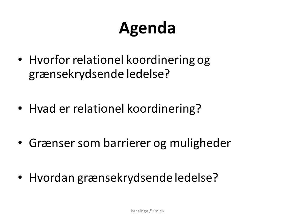 Agenda Hvorfor relationel koordinering og grænsekrydsende ledelse