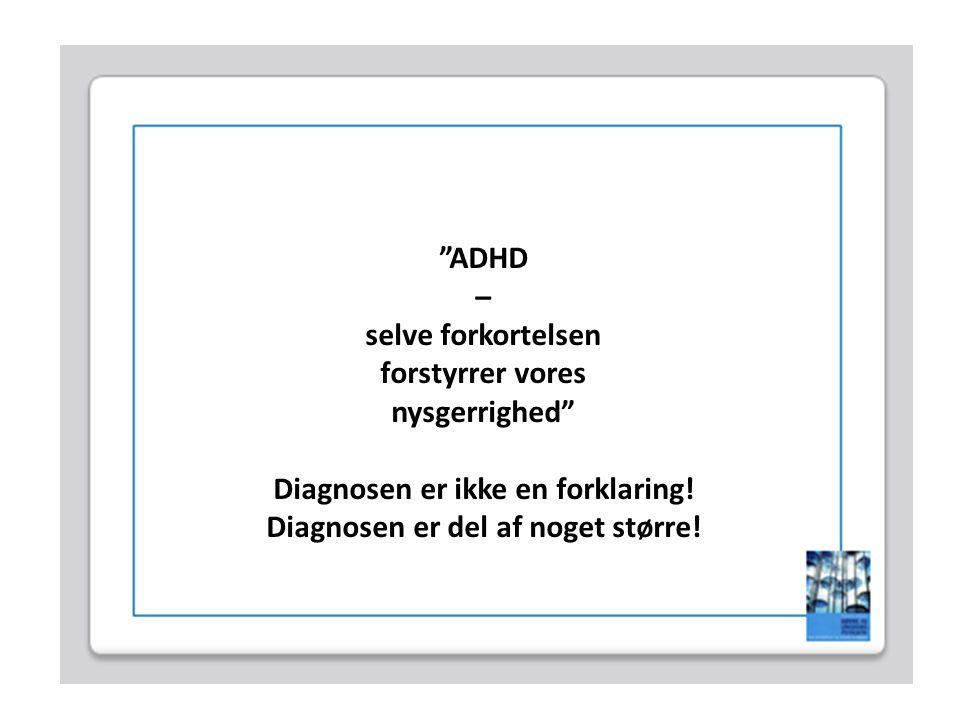 Diagnosen er ikke en forklaring! Diagnosen er del af noget større!
