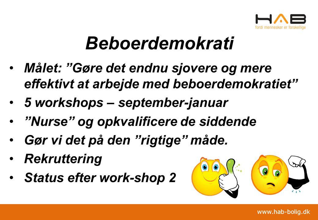 Beboerdemokrati Målet: Gøre det endnu sjovere og mere effektivt at arbejde med beboerdemokratiet 5 workshops – september-januar.
