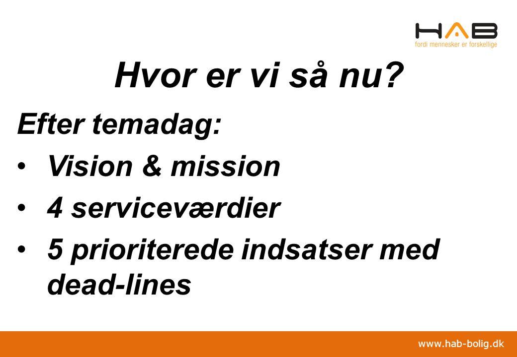 Hvor er vi så nu Efter temadag: Vision & mission 4 serviceværdier