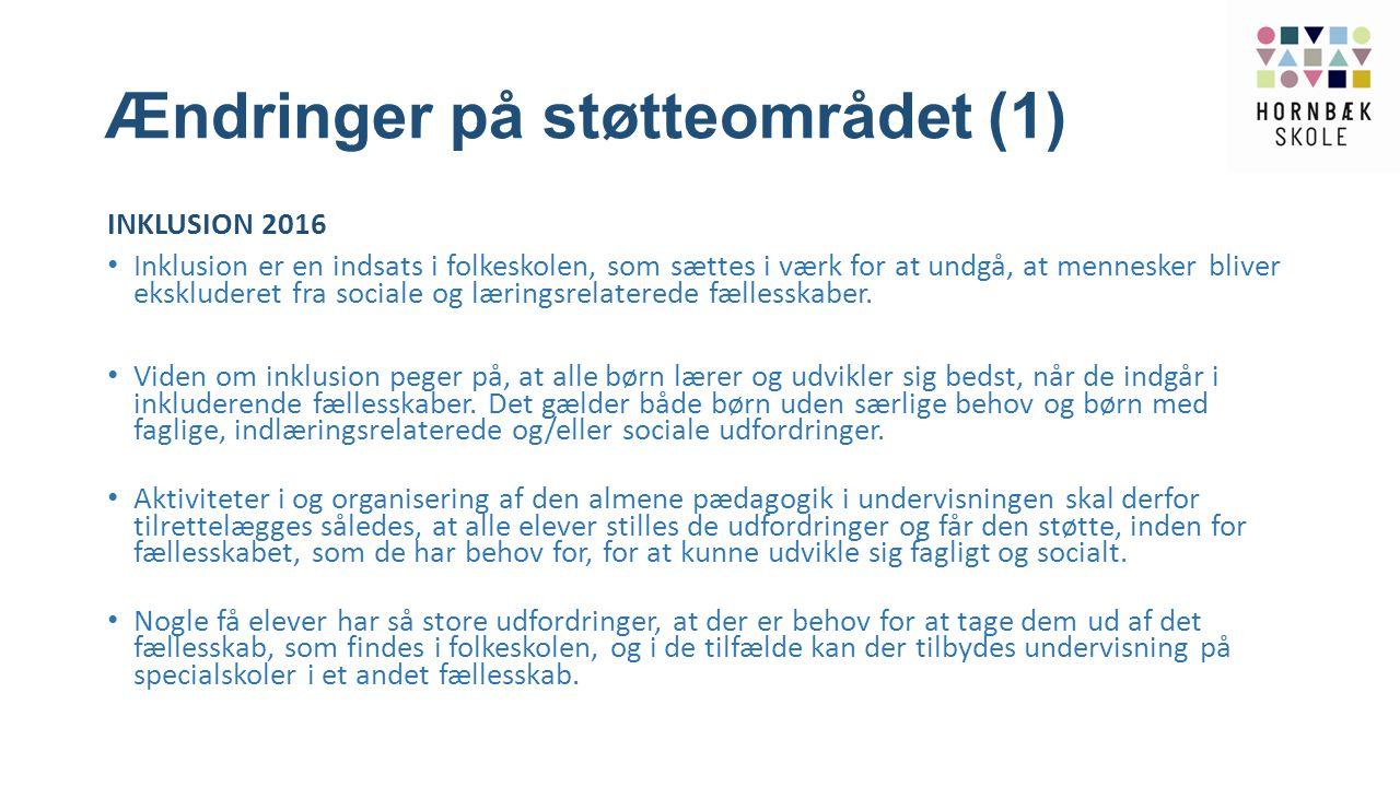 Ændringer på støtteområdet (1)