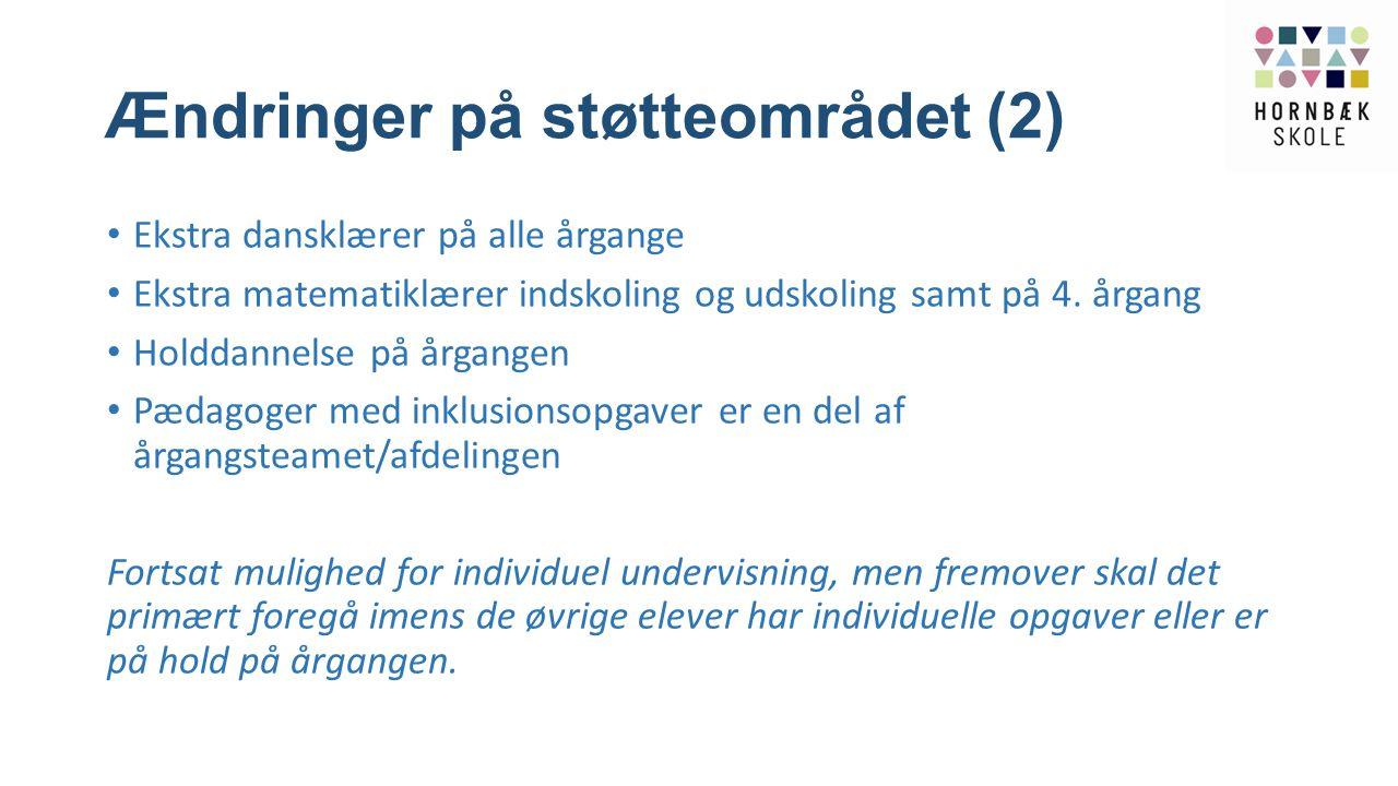 Ændringer på støtteområdet (2)