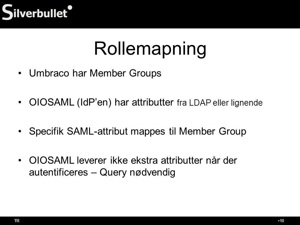 Rollemapning Umbraco har Member Groups