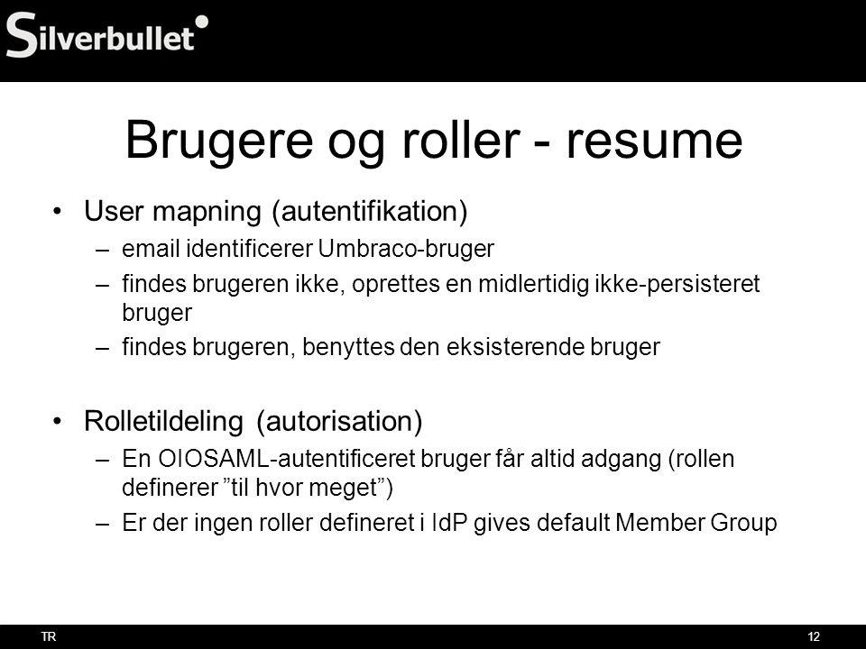 Brugere og roller - resume