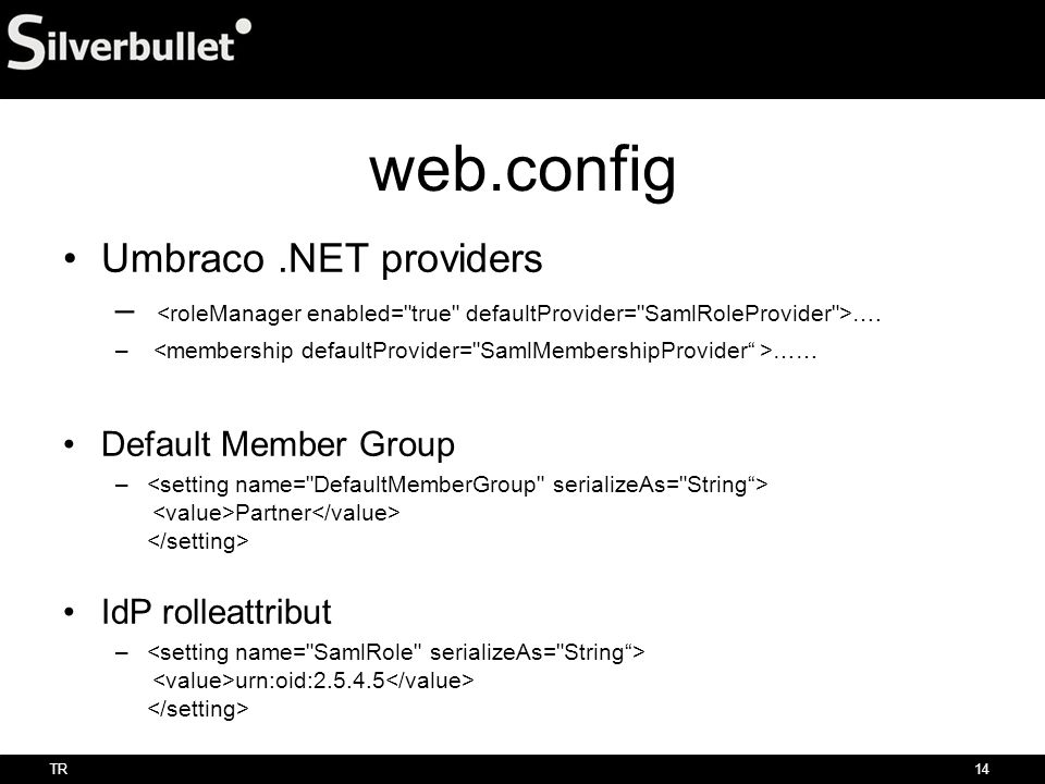 web.config Umbraco .NET providers
