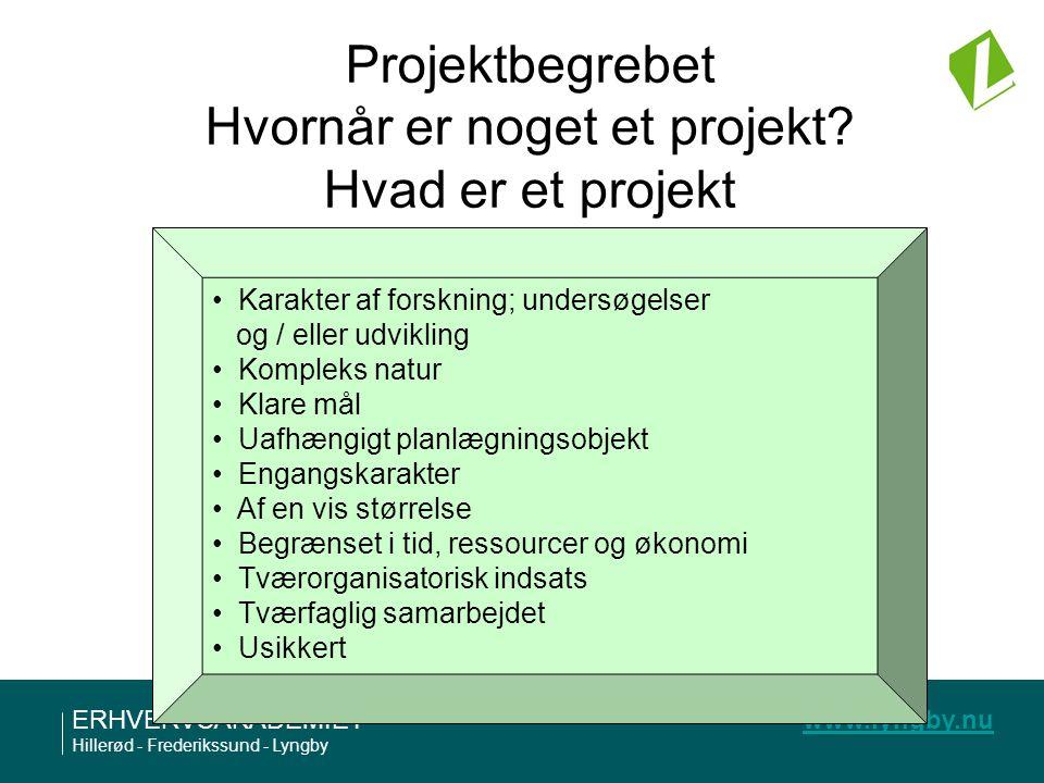 Projektbegrebet Hvornår er noget et projekt Hvad er et projekt