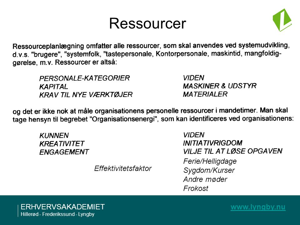 Ressourcer Ferie/Helligdage Sygdom/Kurser Effektivitetsfaktor