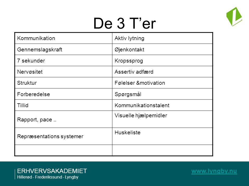 De 3 T'er Kommunikation Aktiv lytning Gennemslagskraft Øjenkontakt