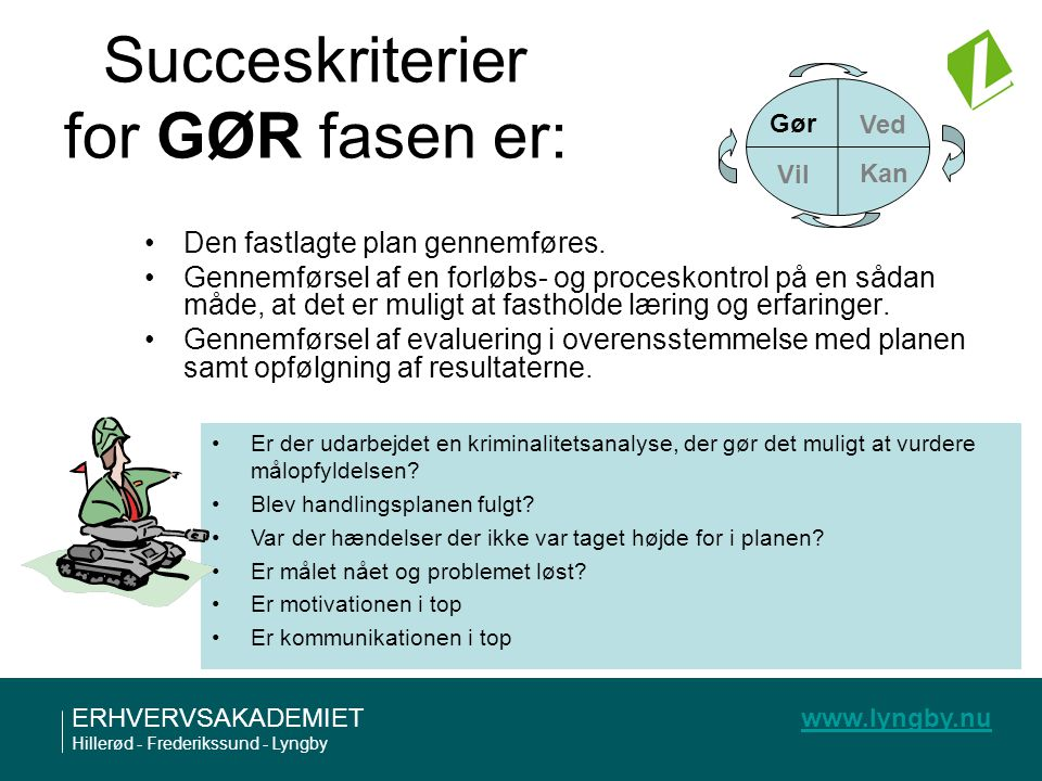 Succeskriterier for GØR fasen er: