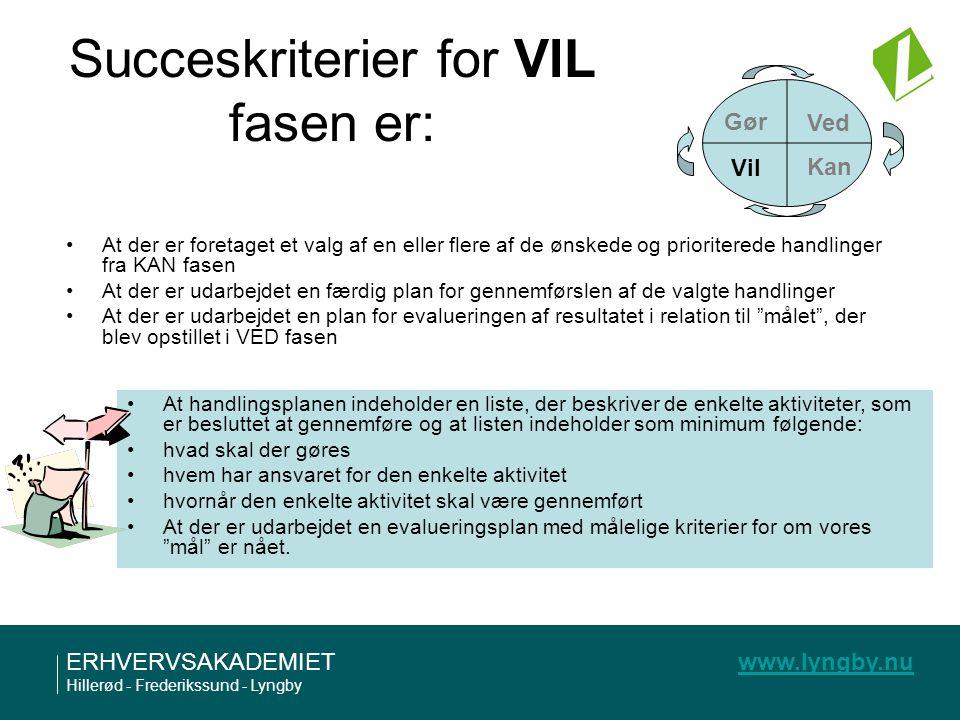 Succeskriterier for VIL fasen er: