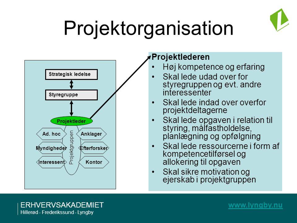 Projektorganisation Projektlederen Høj kompetence og erfaring