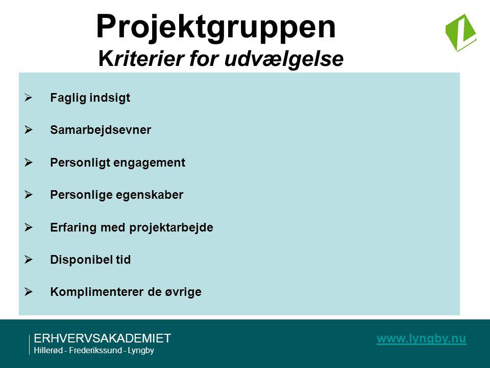 Projektgruppen Kriterier for udvælgelse
