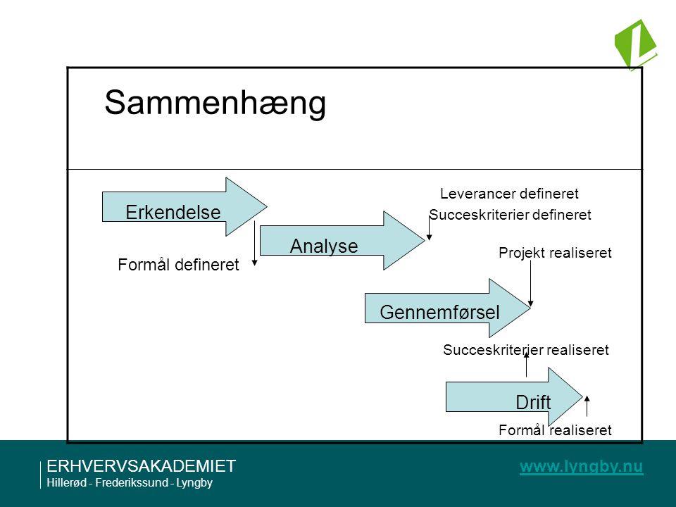 Sammenhæng Erkendelse Analyse Gennemførsel Drift Formål defineret