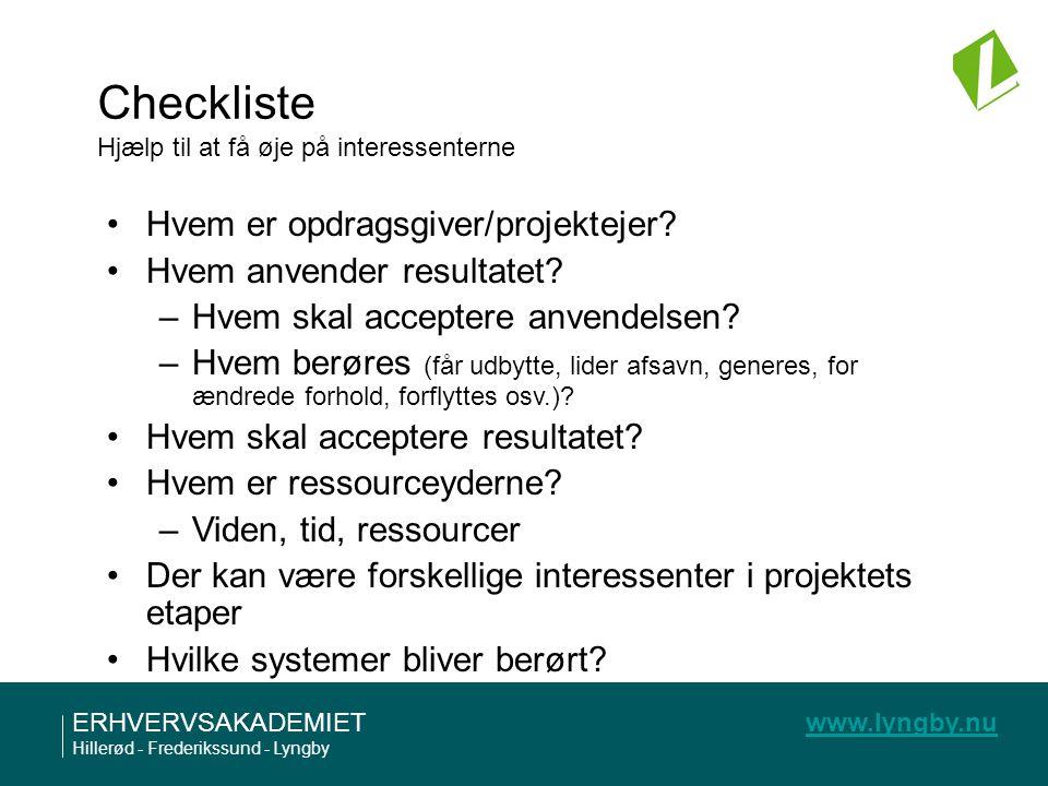 Checkliste Hjælp til at få øje på interessenterne