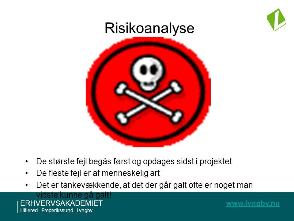 Risikoanalyse De største fejl begås først og opdages sidst i projektet