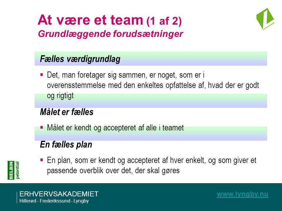 At være et team (1 af 2) Grundlæggende forudsætninger
