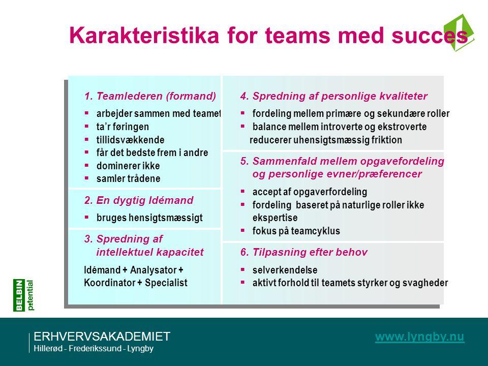 Karakteristika for teams med succes