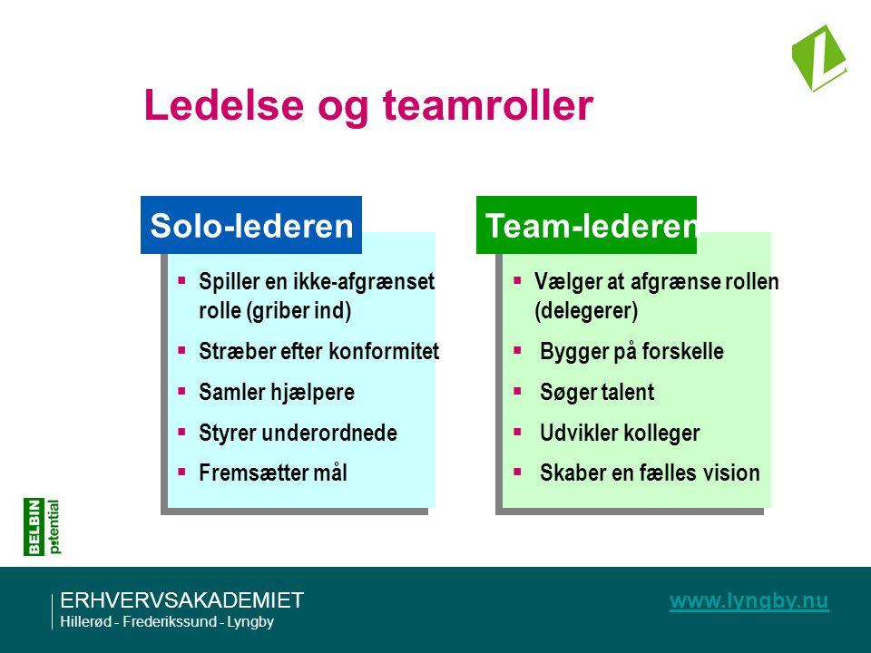 Ledelse og teamroller Solo-lederen Team-lederen