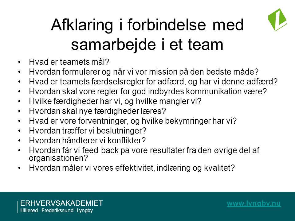 Afklaring i forbindelse med samarbejde i et team