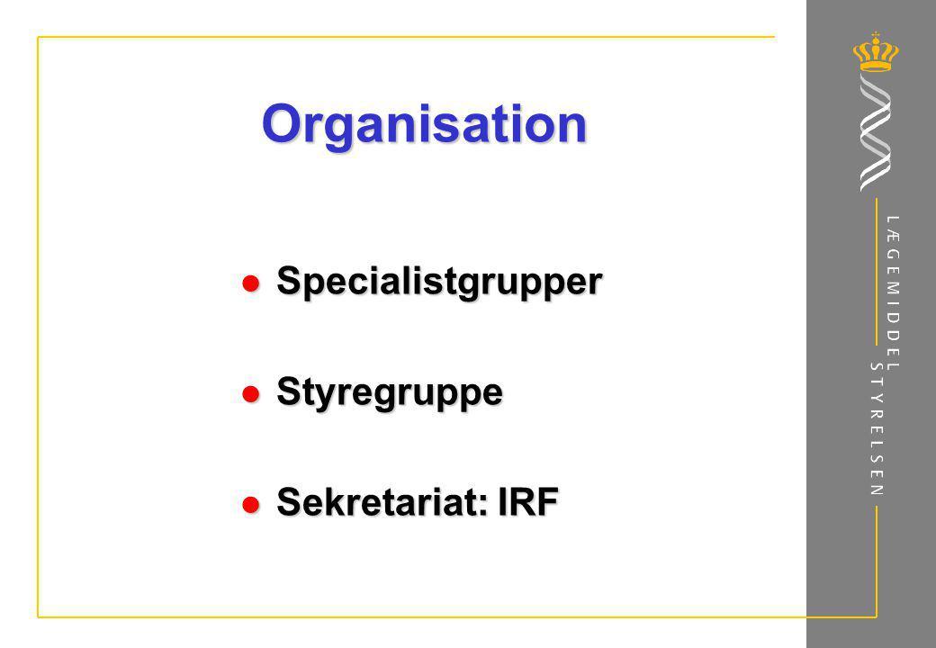 Organisation Specialistgrupper Styregruppe Sekretariat: IRF
