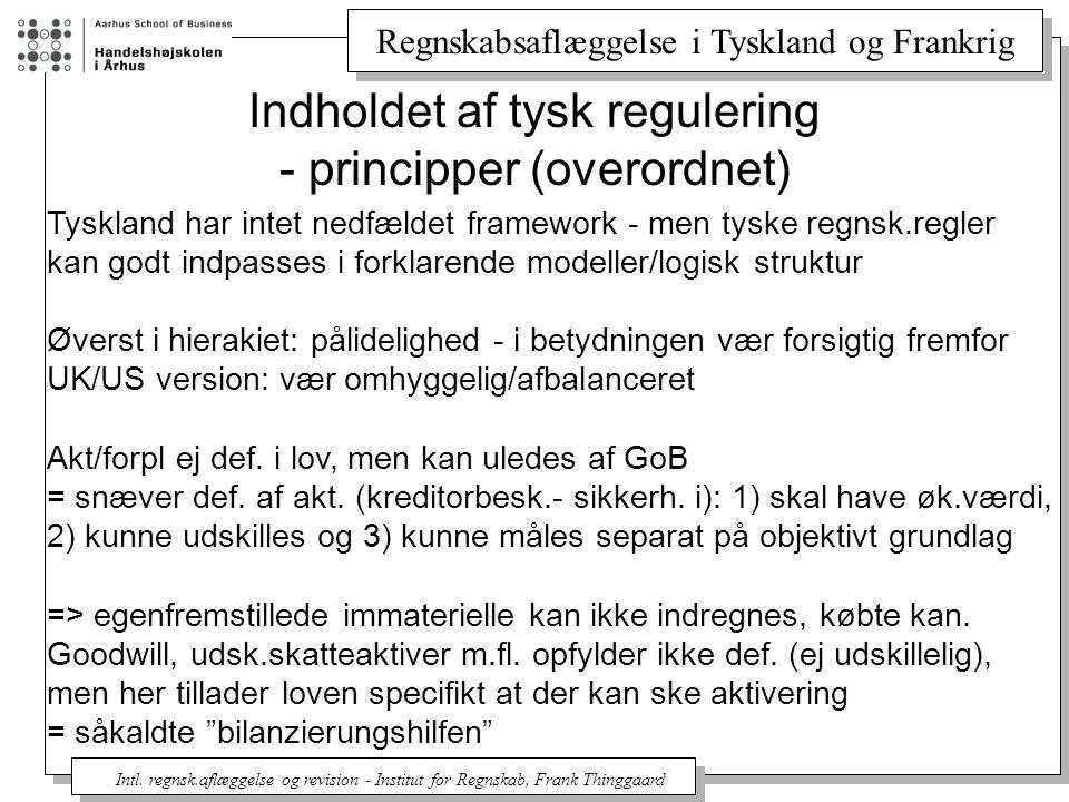 Indholdet af tysk regulering - principper (overordnet)