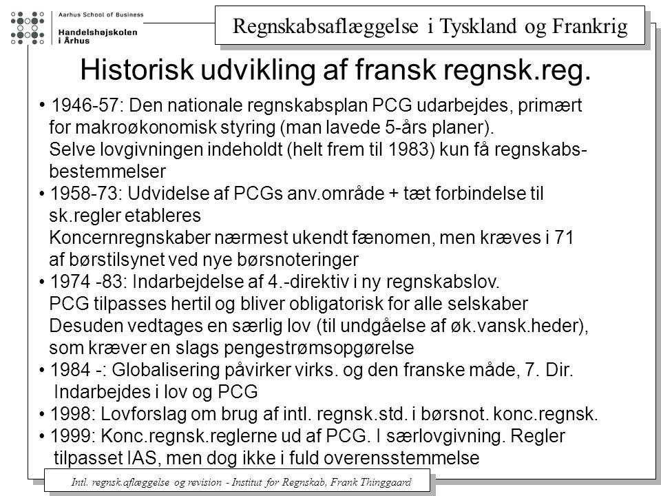 Historisk udvikling af fransk regnsk.reg.